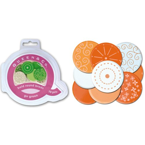 Queen and Company - Bold Round Brads - 10 pieces - Oh Orange, CLEARANCE