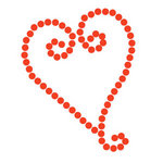 Queen and Company - Bling - Self Adhesive Rhinestones - Swirl Heart - Red