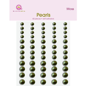 Queen and Company - Bling - Adhesive Pearls - Moss, CLEARANCE