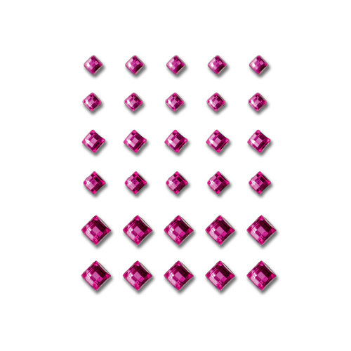 Queen and Company - Bling - Self Adhesive Rhinestones - Princess Cut - Dark Pink