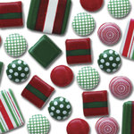 Queen & Co. - Frills - Stylish Brads - Textured Trios - Traditional Christmas, CLEARANCE