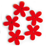 Queen and Company - Jeweled Felt Flowers - Red, CLEARANCE