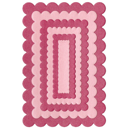 Lifestyle Crafts - Quickutz - Cookie Cutter Dies - Nesting Scallop Rectangles