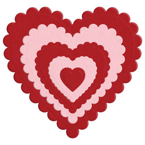 Lifestyle Crafts - Die Cutting Template - Nesting Scallop Hearts