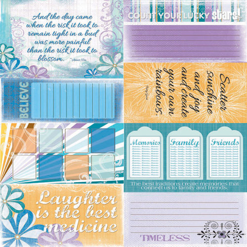 Quick Quotes - Summer Breeze Collection - 12 x 12 Paper - Phrases