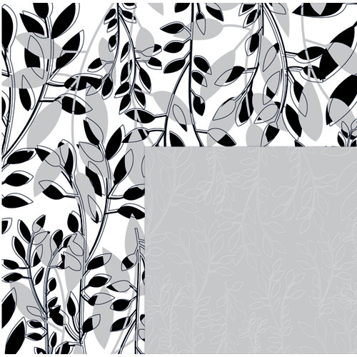 Quick Quotes - Paint it Black Collection - 12 x 12 Double Sided Paper - Summer Branches, CLEARANCE