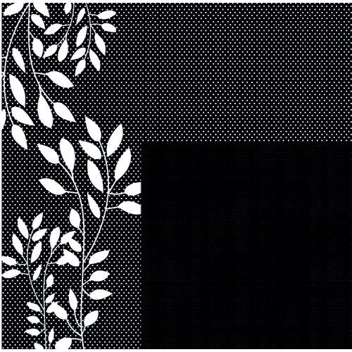 Quick Quotes - Paint it Black Collection - 12 x 12 Double Sided Paper - Dotted Branches, CLEARANCE