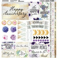 Reminisce - Anniversary Blessings Collection - 12 x 12 Cardstock Stickers - Elements