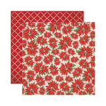 Reminisce - A Christmas Story Collection - 12 x 12 Double Sided Paper - Christmas Poinsettias