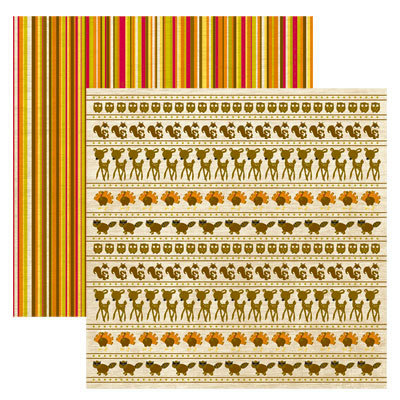 Reminisce - Autumn Forest Collection - 12 x 12 Double Sided Paper - Autumn Forest Stripe, CLEARANCE