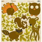 Reminisce - Autumn Forest Collection - 12 x 12 Die Cut Cardstock Stickers - Animal Icon, BRAND NEW