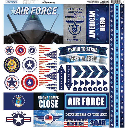 Reminisce - Air Force Collection - 12 x 12 Cardstock Stickers - Elements