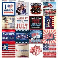 Reminisce - All American Collection - 12 x 12 Cardstock Sticker Sheet - Squares