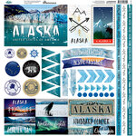 Reminisce - Alaska Cruise Collection - 12 x 12 Cardstock Stickers - Elements