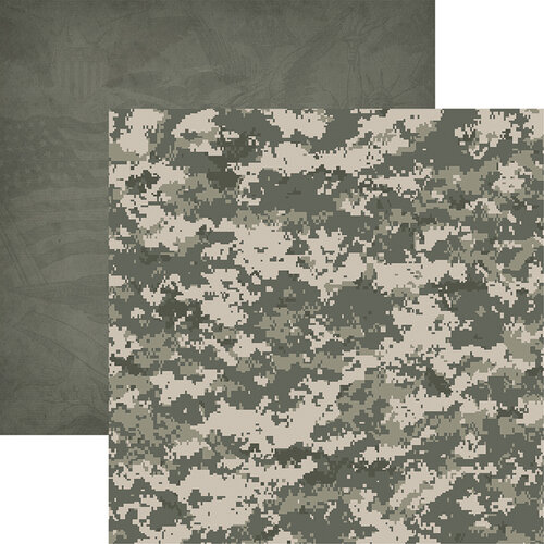 Reminisce - Army Collection - 12 x 12 Double Sided Paper - Army Camo