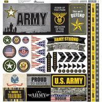 Reminisce - Army Collection - 12 x 12 Cardstock Stickers - Elements