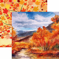 Reminisce - Autumn Splendor Collection - 12 x 12 Double Sided Paper - Autumn Leaves