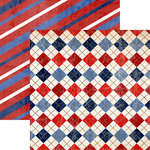 Reminisce - American Vintage Collection - 12 x 12 Double Sided Paper - Red, White, and Blue