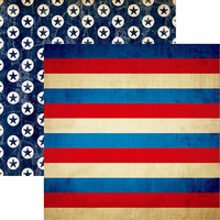 Reminisce - American Vintage Collection - 12 x 12 Double Sided Paper - Vintage Stripe