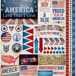 Reminisce - American Vintage Collection - 12 x 12 Cardstock Stickers - Elements