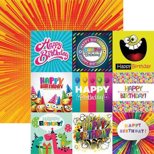 Reminisce - Birthday Bash Collection - 12 x 12 Double Sided Paper - Happy Birthday