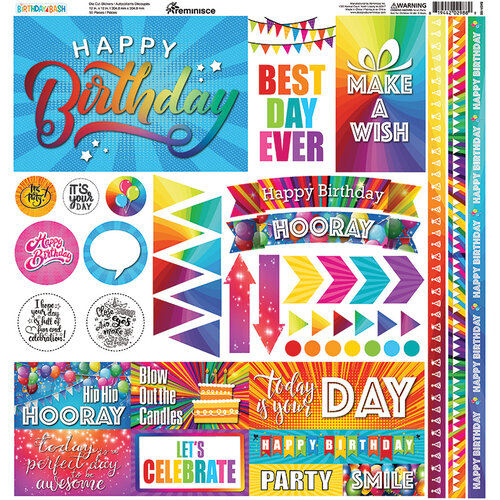 Reminisce - Birthday Bash Collection - 12 x 12 Cardstock Stickers - Elements