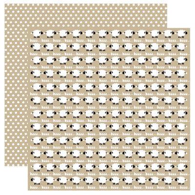 Reminisce - Barnyard Buddies Collection - 12 x 12 Double Sided Paper - Baa Baa
