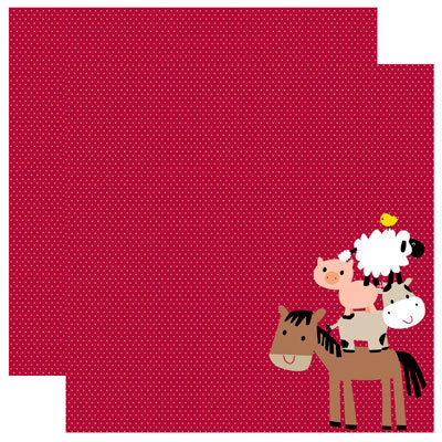Reminisce - Barnyard Buddies Collection - 12 x 12 Double Sided Paper - Barnyard Buddies