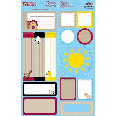 Reminisce - Barnyard Buddies Collection - Die Cut Cardstock Stickers - Barnyard Buddies Tags