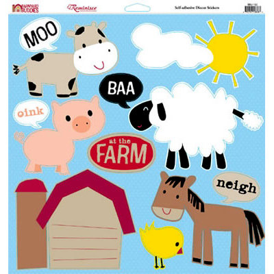 Reminisce - Barnyard Buddies Collection - 12 x 12 Die Cut Cardstock Stickers - Barnyard Buddies Icon