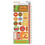 Reminisce - Boys Gone Wild Collection - Die Cut Cardstock Stickers - Phrases, CLEARANCE