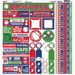 Reminisce - Baseball Collection - 12 x 12 Cardstock Stickers - Multi