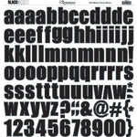 Reminisce - Black and White Collection - 12x12 Sticker - Black Alphabet, CLEARANCE