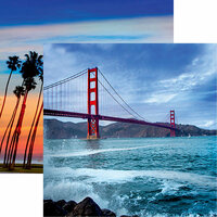 Reminisce - California Collection - 12 x 12 Double Sided Paper - The Golden Gate