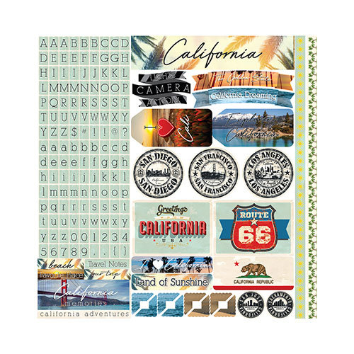 Reminisce - California Collection - 12 x 12 Cardstock Stickers - Variety