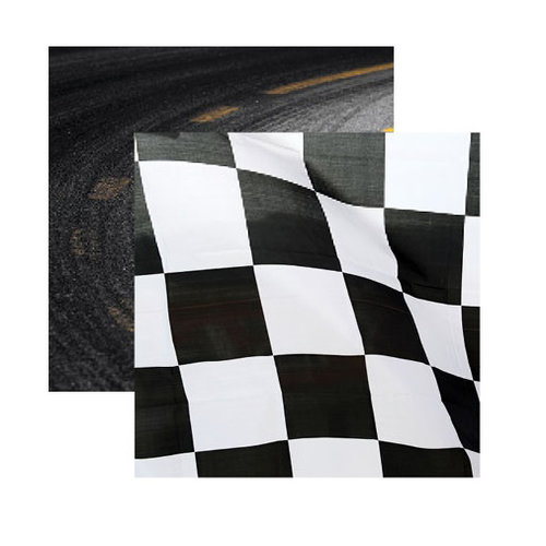 Reminisce - Checkered Flag Collection - 12 x 12 Double Sided Paper - Checkered Flag