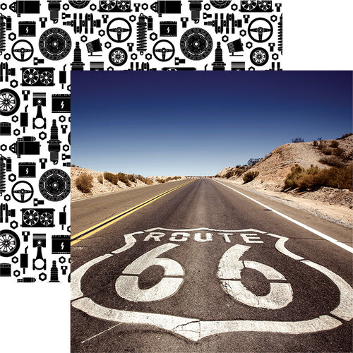 Reminisce - Classic Cars Collection - 12 x 12 Double Sided Paper - Route 66
