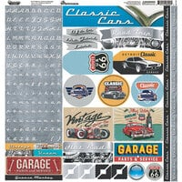 Reminisce - Classic Cars Collection - 12 x 12 Cardstock Stickers - Alpha