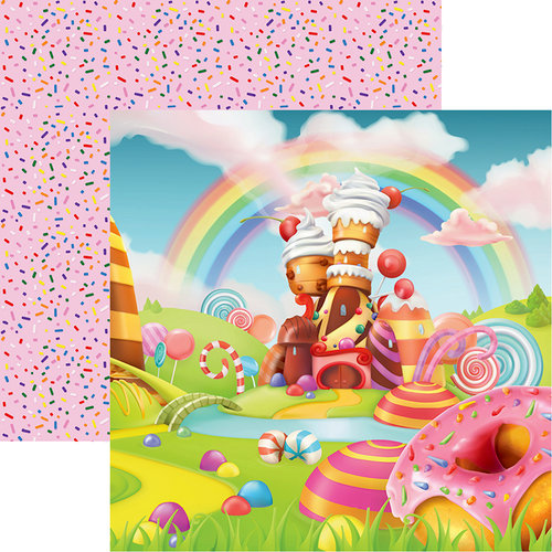 Reminisce - Candy Shoppe Collection - 12 x 12 Double Sided Paper - Candy Land