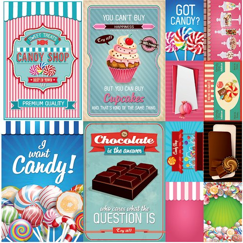 Reminisce - Candy Shoppe Collection - 12 x 12 Cardstock Stickers - Poster