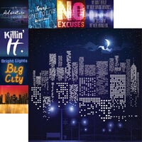 Reminisce - City Lights Collection - 12 x 12 Double Sided Paper City Skyline