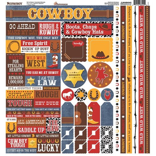 Reminisce - Cowboy Collection - 12 x 12 Cardstock Stickers - Multi