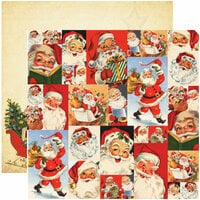 Reminisce - Dear Santa Collection - Christmas - 12 x 12 Double Sided Paper - Santa Collage