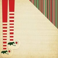 Reminisce - Dear Santa Collection - Christmas - 12 x 12 Double Sided Paper - Santa Stripe