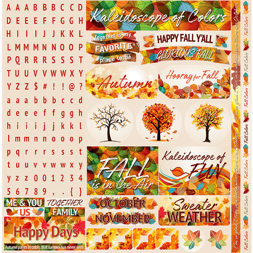 Ella and Viv Paper Company - Autumn Inspired Collection - 12 x 12 Cardstock Stickers - Alpha