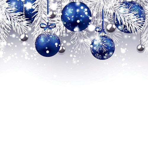 Ella and Viv Paper Company - Blue Christmas Collection - 12 x 12 Paper - Indigo Ornaments