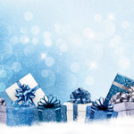 Ella and Viv Paper Company - Blue Christmas Collection - 12 x 12 Paper - Christmas Morning