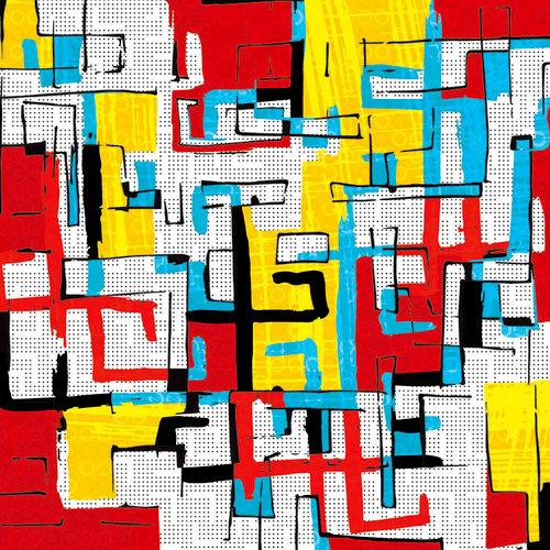 Ella and Viv Paper Company - Graffiti Collection - 12 x 12 Paper - Cardinal and Gold
