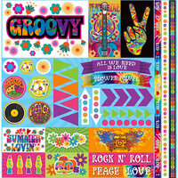 Ella and Viv Paper Company - Groovy Collection - 12 x 12 Cardstock Stickers - Elements