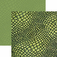 Ella and Viv Paper Company - Animal Kingdom Collection - 12 x 12 Double Sided Paper - Green Snake